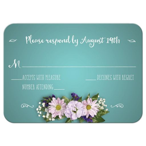 Wedding Reply RSVP Card - Aqua Flower Bouquet