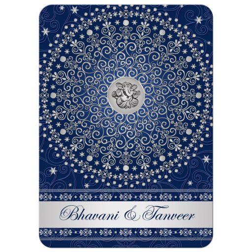 Ganesh Wedding Invitations: Hindu Ganesh Blue, Silver Scrolls, Stars