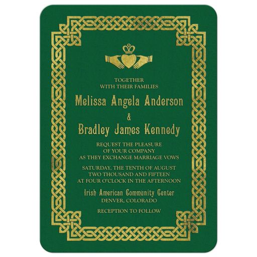 Green and gold Irish celtic love knot and claddagh wedding invitation front