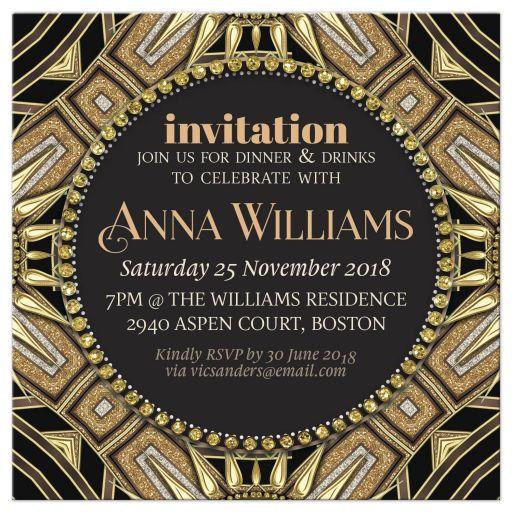 Art Deco Gold Black Adult Birthday Invitation