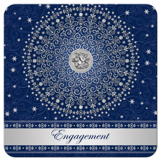 Best navy blue and silver engagement ceremony invitation with scrolls, stars, dots, and Ganesh