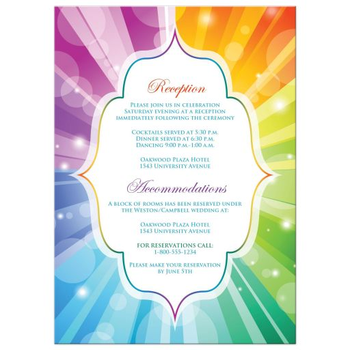 Great same sex wedding invites with rainbow stripes and heart