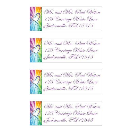 wedding return address labels rainbow colors striped sunbursts heart