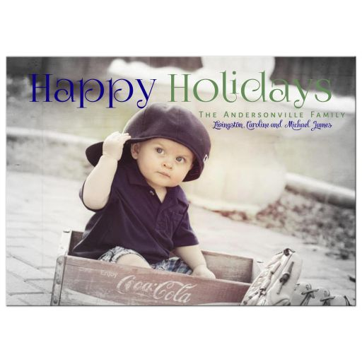 Pin Stripes Holiday Photo Template Greeting Card