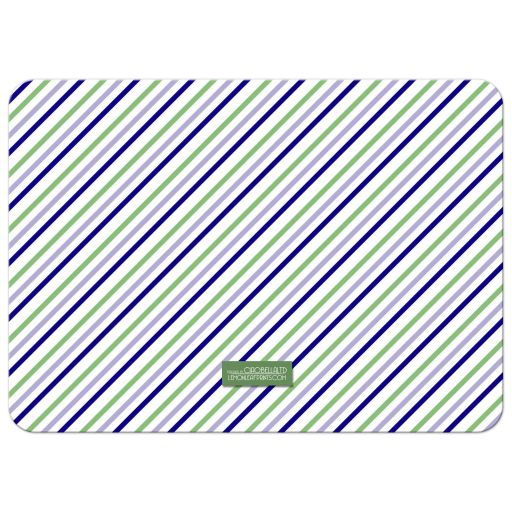 Blue and Green Pin Stripes Holiday Photo Template Greeting Card