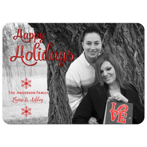 Rainbow Snowflakes Holiday Photo Template Greeting Card