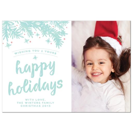 Modern Branches Happy Holidays Photo Christmas Cards