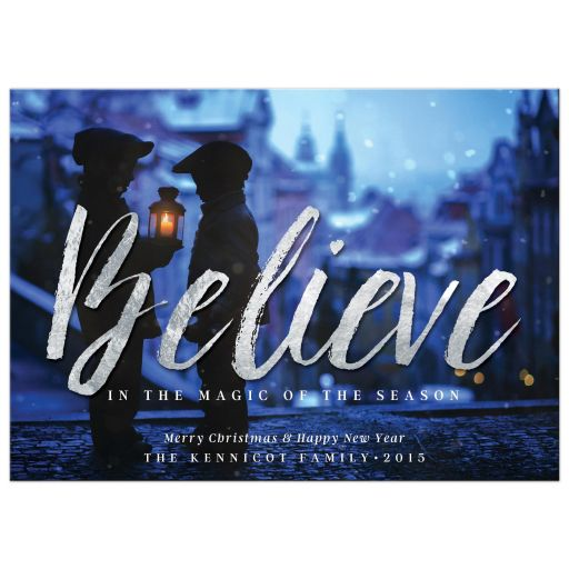 Silver Believe Christmas Photo Card