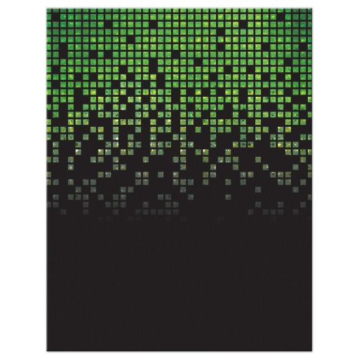 Video game pixel graphic green black Bar Mitzvah RSVP reply card back V1