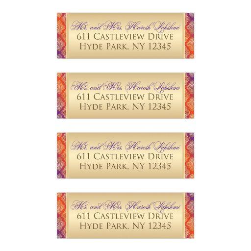 Best purple, orange and gold damask pattern return address mailing labels for weddings