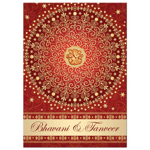 Best red, orange and gold wedding ceremony invitation with scrolls, stars, dots, and Ganesh