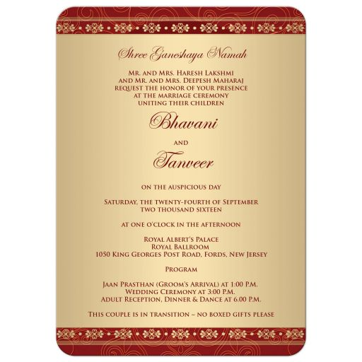 Great east indian wedding invites in red, orange and gold with Ganesha