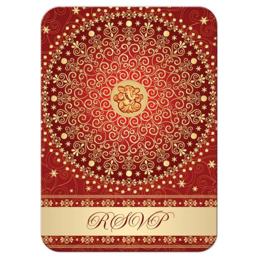 Best red, orange and gold wedding rsvp card enclosure card with scrolls, stars, dots, and Ganesh