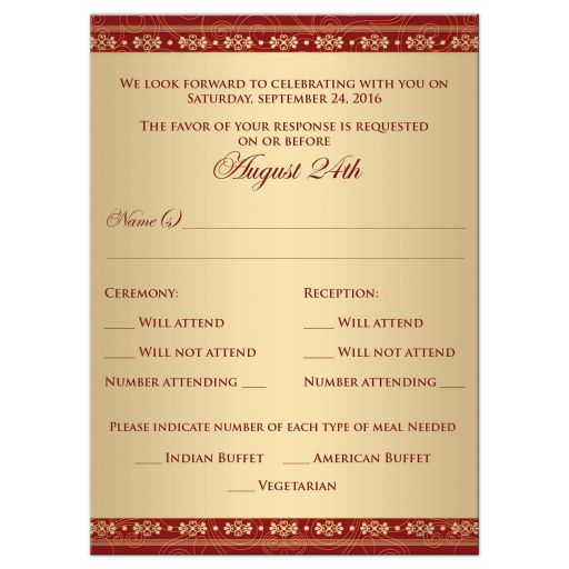 Great east indian wedding enclosure rsvp insert card in red, orange and gold with Ganesha