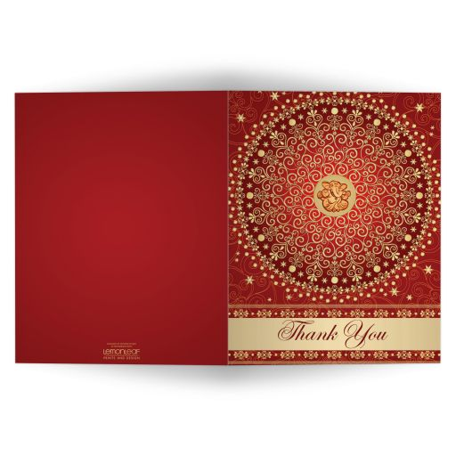 Best red, orange and gold wedding thank you card enclosure card with scrolls, stars, dots, and Ganesh