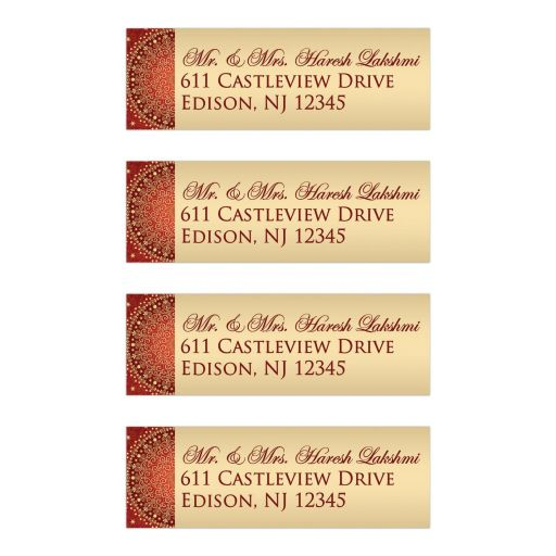 Best red, orange and gold ethnic wedding return address mailing labels with scrolls, swirls, hearts
