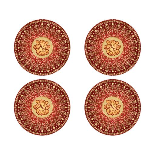 Best red, orange and gold ethnic wedding envelope seals or wedding favor stickers with scrolls, swirls, hearts and Hindu god Ganesh on it.