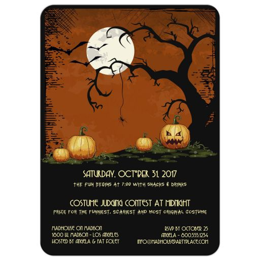 Cute Owl, Dead Tree Silhouette, Full Moon and Pumpkins Halloween Party Invitation