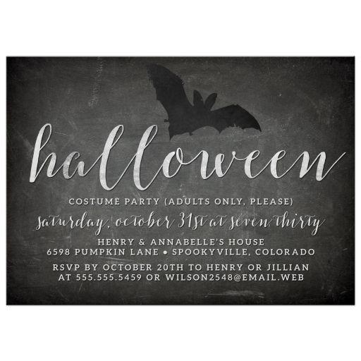 Chalkboard & Bat Silhouette Halloween Party Invitations