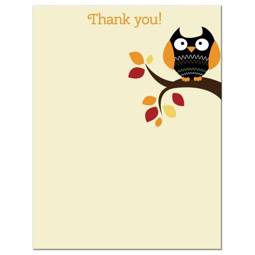 Autumn Halloween Owl Flat Thank you note card