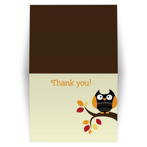 Autumn Owl Halloween Folded Thank you note