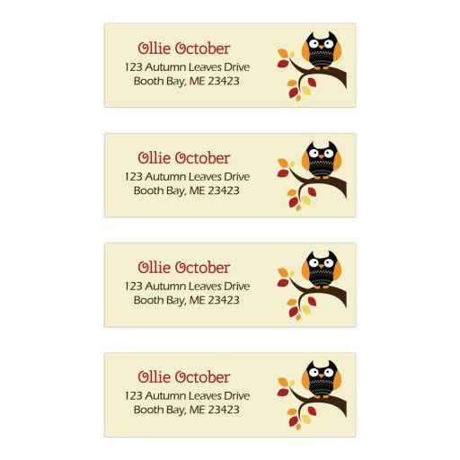 Autumn Owl Halloween Return Address Labels