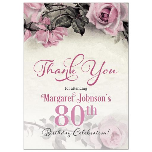 ​Vintage pink, grey (gray), and ivory rose 80th birthday party thank you card front