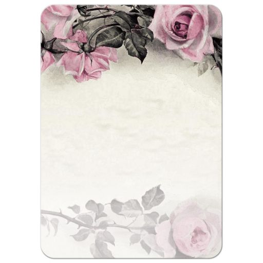 ​Vintage pink, grey (gray), and ivory rose 80th birthday party thank you card back
