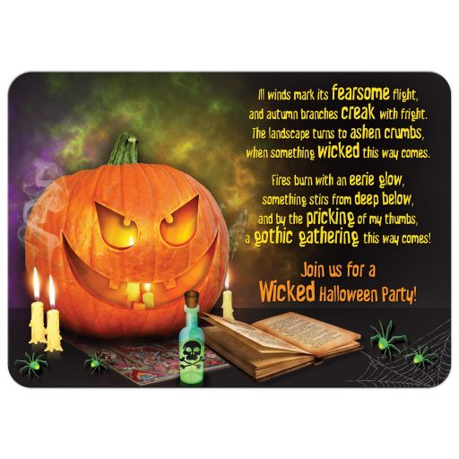 Jack-o'-lantern pumpkin wicked Halloween party invitation front