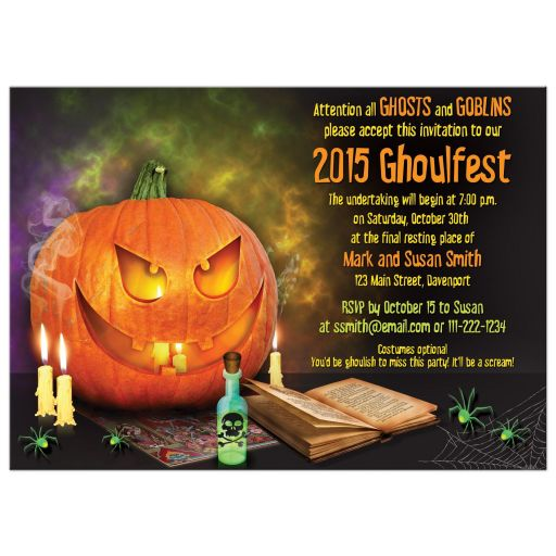 Jack-o'-lantern pumpkin wicked Halloween party invitation back
