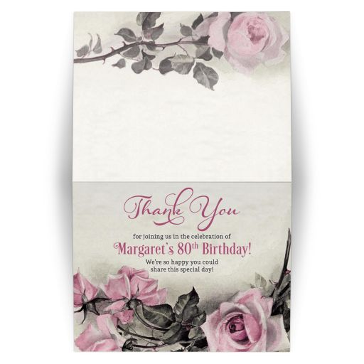 Vintage pink, grey (gray), and ivory rose 80th birthday party folded thank you card