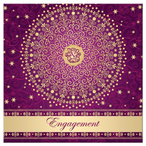 Best purple, fuchsia pink and gold engagement ceremony invitation with scrolls, stars, dots, and Ganesh