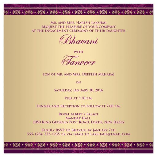 Great east indian engagement invites in purple, hot pink and gold with Ganesha