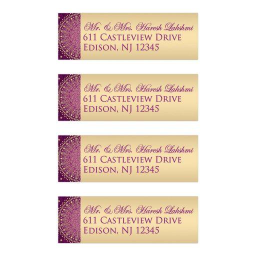 Best purple, hot fuchsia pink and gold ethnic wedding return address mailing labels with scrolls, swirls, hearts