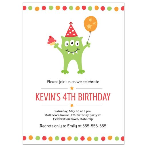 Kids monster birthday party invite with funny, green monster wearing a party hat.
