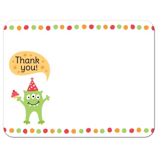 Monster party thank you note card with green monster wearing a party hat.