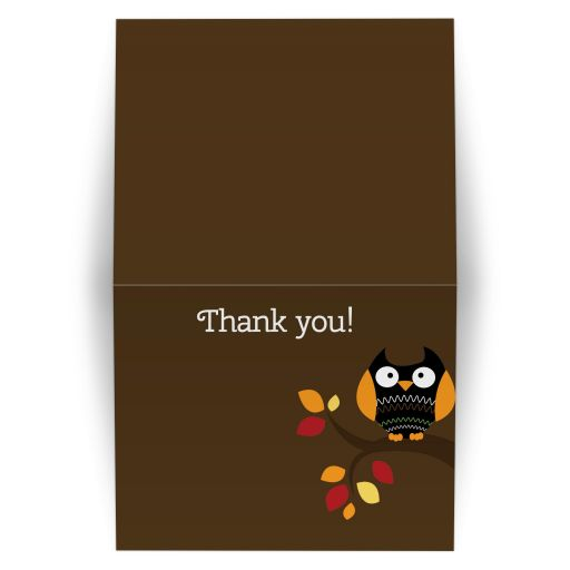 Autumn Owl Halloween Folded thank you card - brown