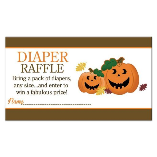 Halloween Jack O' Lantern Pumpkins Baby Shower Diaper Raffle Cards