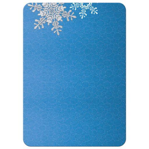royal blue silver snowflake winter wedding invitation. Black Bedroom Furniture Sets. Home Design Ideas
