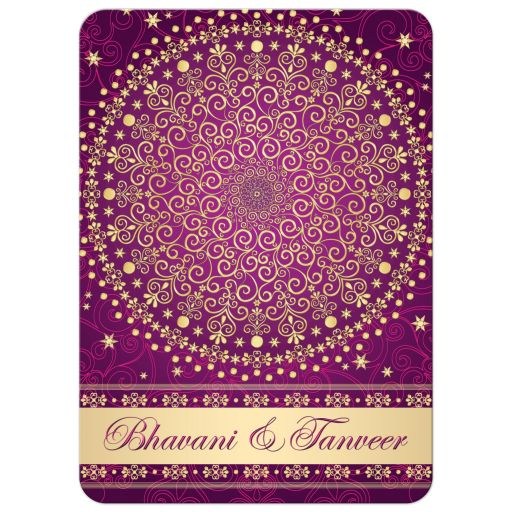 Best purple, fuchsia pink and gold wedding ceremony invitation with scrolls, stars, dots, and hearts