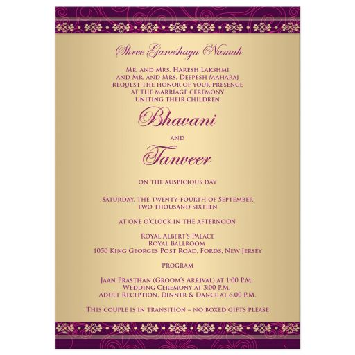 Great east indian wedding invites in purple, hot pink and gold with polka dots