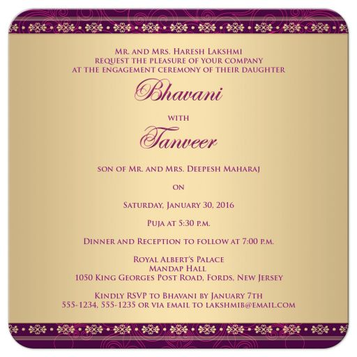 Great east indian engagement invites in purple, hot pink and gold