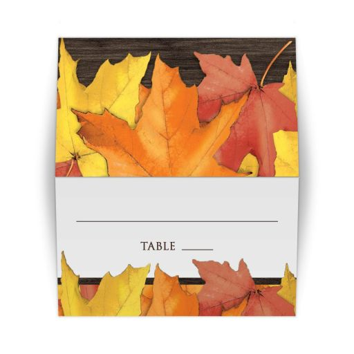 Place Cards - Rustic Autumn Leaves Wood Table Escort Cards