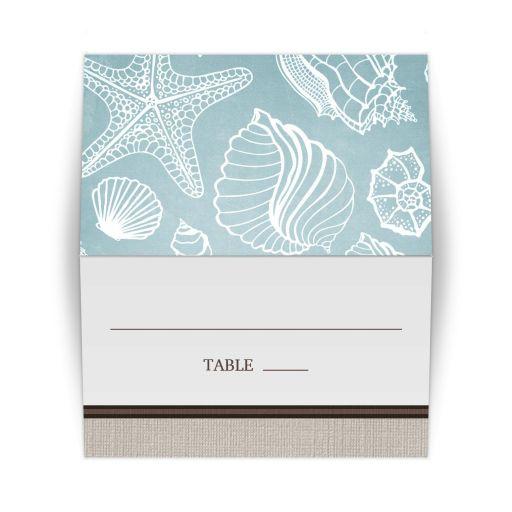 Place Cards - Rustic Beach Seashells Linen - Escort Cards