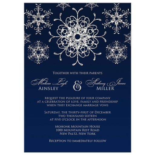 Best winter wonderland wedding invitation in navy blue and silver snowflakes and glitter