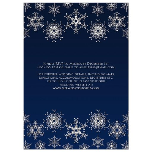 Great affordable navy blue and silver glitter snowflakes wedding invites
