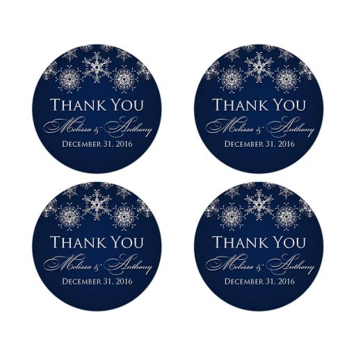 "Best ​2"" round personalized midnight navy and royal blue wedding favor thank you stickers with assorted silver FAUX glitter snowflakes."