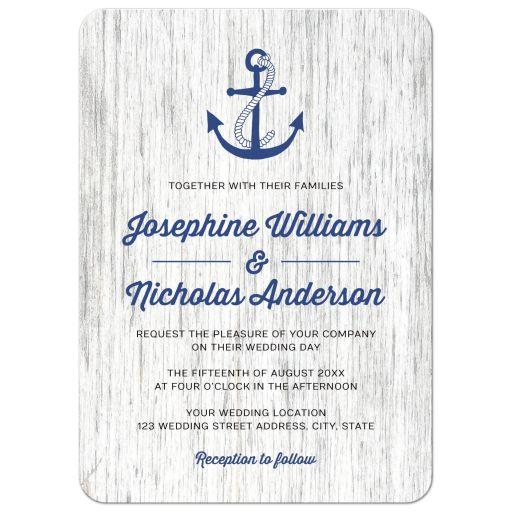 Nautical anchor on rustic wood  modern wedding invitation