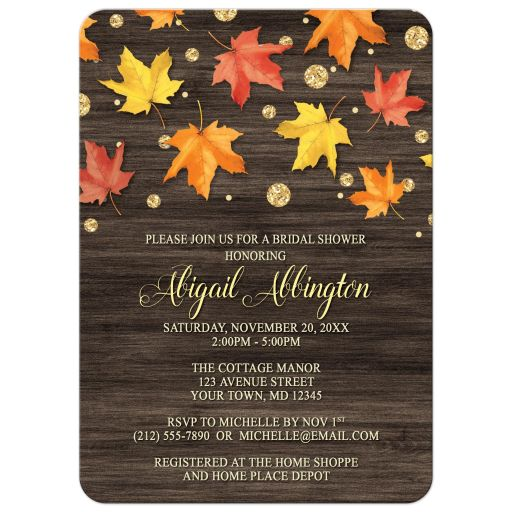 Bridal Shower Invitations - Falling Leaves with Gold Autumn