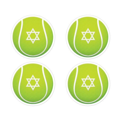 "​2"" round yellow and green Bar Mitzvah tennis ball envelope seals or party favor stickers."